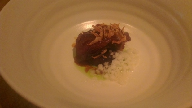 Slow cooked beef & onion with iced thyme granita