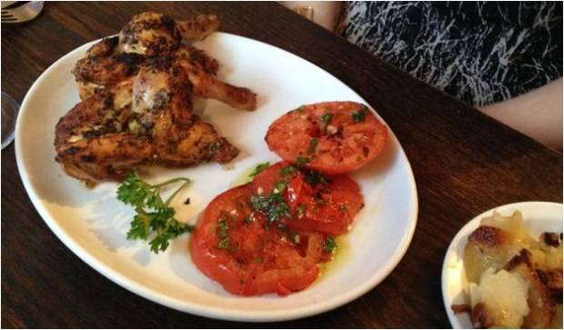 Poussin with beef tomatoes