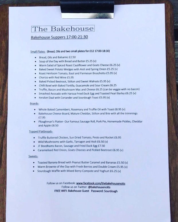New Evening Menu - The Bakehouse - Sherwood