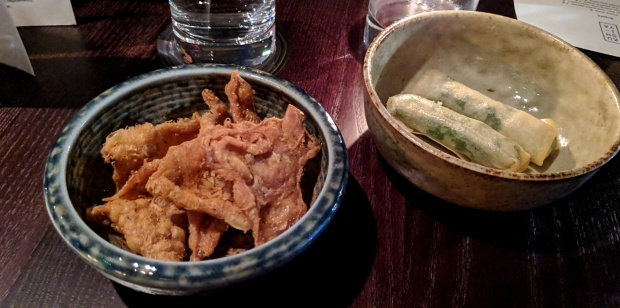 Chicken skin and crab roll snacks - Kushi-Ya - Nottingham