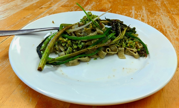Nettle pasta with wild garlic pesto