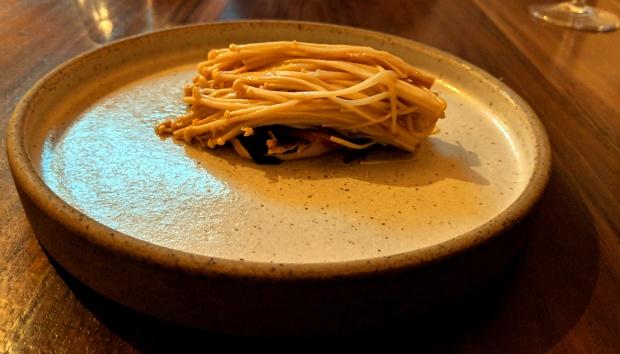 Recent enoki mushroom dish at Alchemilla